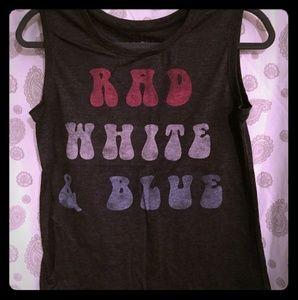Rad, White & Blue Razor Back Tank